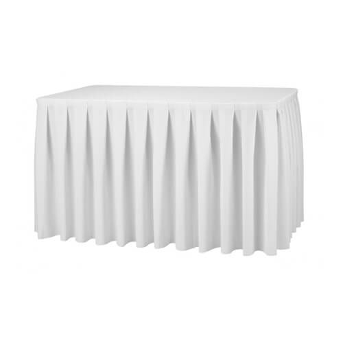 white fabric banquet table skirts wholesale